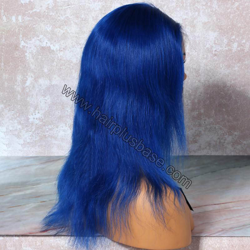 Blue Hair  Full Lace Wigs Natural Straight, 120% Density, Indian Remy Hair 1