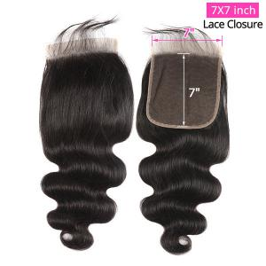 Body Wave 7x7 Inch Lace Closure Super Soft Human Hair Swiss Lace Closure