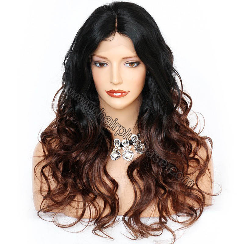 Body Wave Glueless Lace Front Wigs Indian Remy Hair Ombre #1B/30 20inches