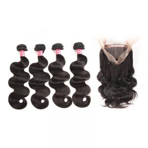 Body Wave Hair 4 Bundles With 360 Lace Frontal Virgin Hair Brazilian Hair
