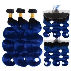 Body Wave Hair Bundles With Lace Frontal 1B/Blue Ombre With Dark Roots