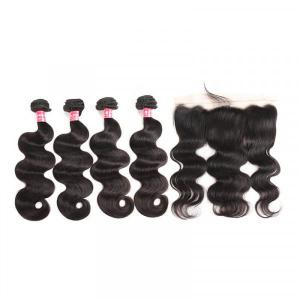 Body Wave Hair Malaysian Hair Weave With 13x4 Lace Frontal Closure