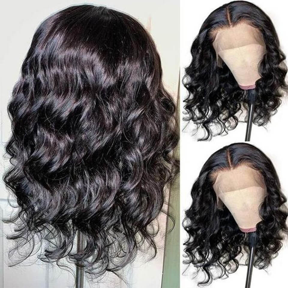 Body Wave Middle Part Short Bob Lace Front Wigs 150% 180% Density 3