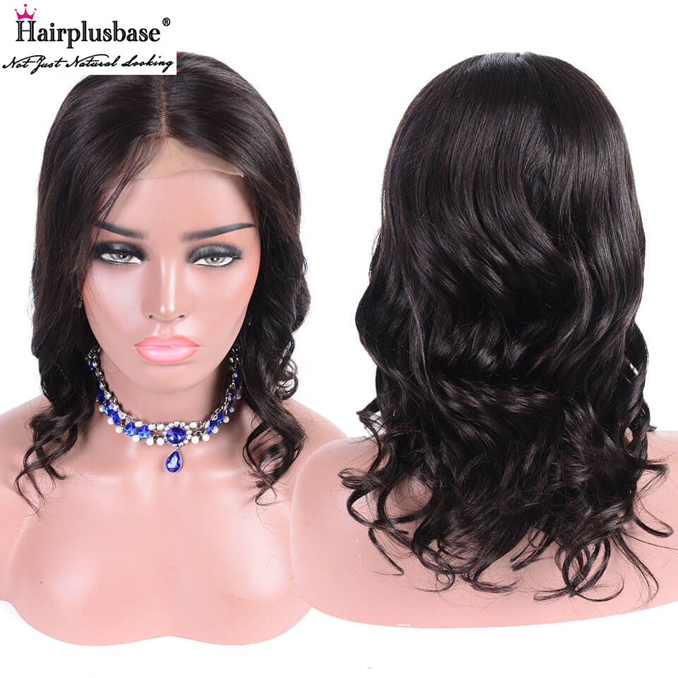 Body Wave Middle Part Short Bob Lace Front Wigs 150% 180% Density 4