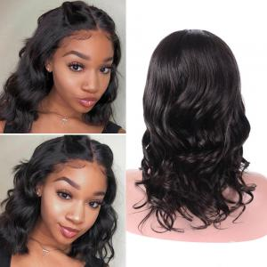 Body Wave Middle Part Short Bob Lace Front Wigs 150% 180% Density
