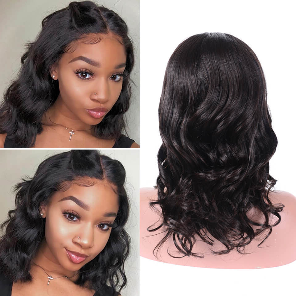 Body Wave Middle Part Short Bob Lace Front Wigs 150% 180% Density 8