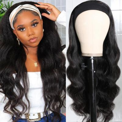 Body Wave Scarf Wigs 100% Virgin Human Hair Headband Wig No Glue & No Sew