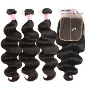 Body Wave Virgin Human Hair 3 Bundles With 6x6 Inch Lace Closure