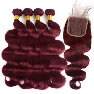Brazilian Hair 4 Bundles With Closure Body Wave Human Hair 99J Burgundy Color