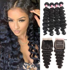 Brazilian Hair Loose Deep Wave 4 Bundles With 5x5 Lace Closure