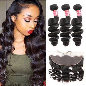 Brazilian Hair Loose Wave Hair 3 Bundles With 13*4 Lace Frontal Human Hair