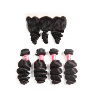 Brazilian Hair Loose Wave Hair 4 Bundles With 13*4 Lace Frontal Human Hair