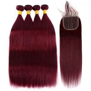 Brazilian Straight Hair 4 Bundles With Closure 99J Burgundy Weave Hair