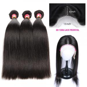 Brazilian Straight Hair Bundles With 13x6 Lace Frontal Closure