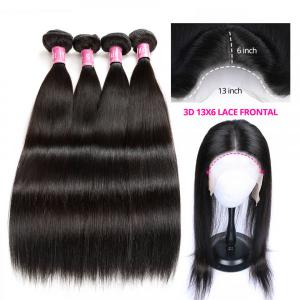 Brazilian Straight Human Hair Bundles With 13x6 Lace Frontal Closure