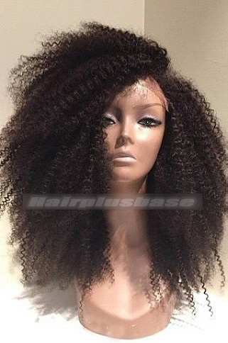 18 Inch Afro Curl Brazilian Virgin Hair Glueless Lace Wigs 200% Density