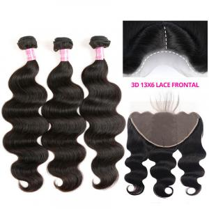 Brazilian Virgin Hair Body Wave 13x6 Lace Frontal Closure With Bundles