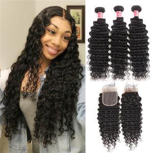 Brazilian Virgin Hair Deep Wave 3 Bundles With Lace Closure Human Hair