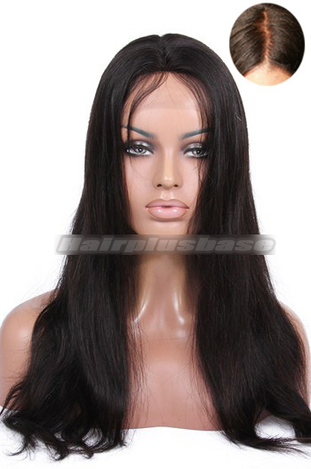 Luxury Straight Brazilian Virgin Hair Glueless Silk Top Lace Front Wigs