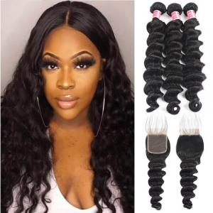 Brazilian Virgin Hair Loose Deep 3 Bundles With Lace Closure Human Hair Weaves