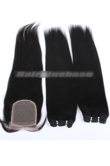 10-24 Inch Light Yaki Brazilian Virgin Hair Weave A Silk Base Closure with 2 Bundles Deal