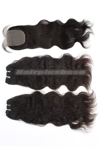 10-24 Inch Natural Straight Brazilian Virgin Hair Weave A Silk Base Closure with 2 Bundles Deal