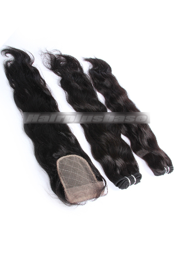 10-24 Inch Natural Wave Brazilian Virgin Hair Weave A Silk Base Closure with 2 Bundles Deal