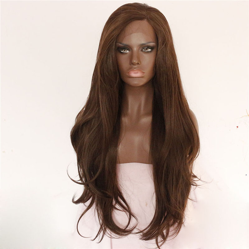 Brown Natural Long Wave Lace Front Synthetic Wig