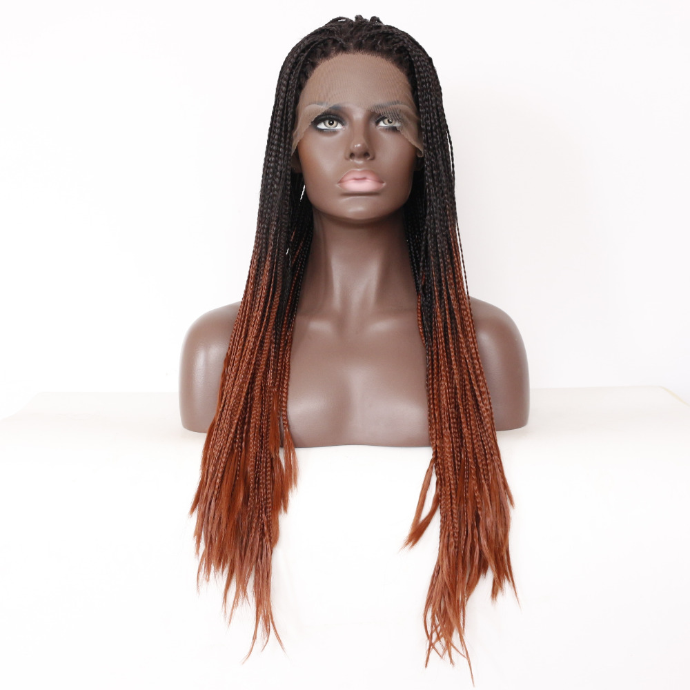 Brown Ombre Synthetic Braided Lace Front Wig For Black Woman