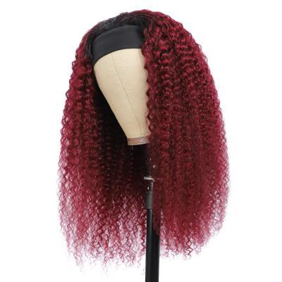 Burgundy 99J Headband Wig Afro Kinky Curly Hair Wigs