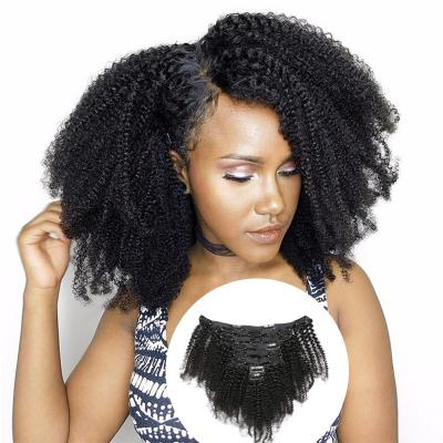 Cheap Afro Kinky Curly Clip In Human Hair Extensions For Black Hair 120g