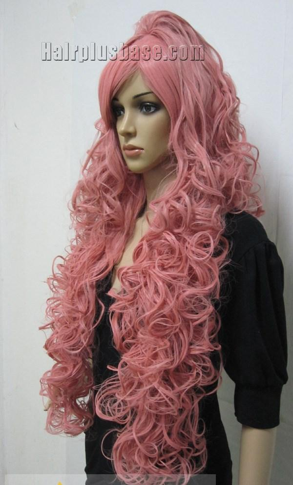 Cheap Capless Long Synthetic Hair Pink Wavy / Curly Cheap ...