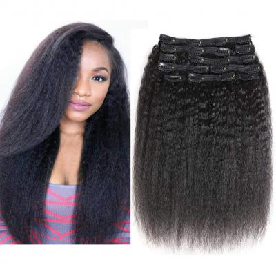 Cheap Kinky Straight Clip In Human Hair Extensions For Black Hair 120g