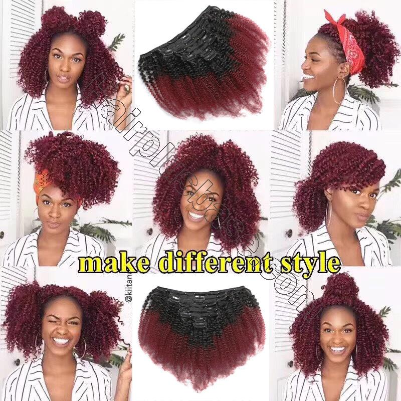 Cheap Ombre Afro Kinky Curly Clip In Human Hair Extensions #1B/#99J 120g 3