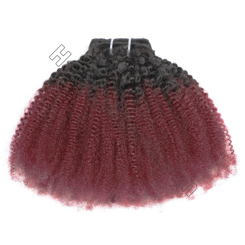 Cheap Ombre Afro Kinky Curly Clip In Human Hair Extensions #1B/#99J 120g 6
