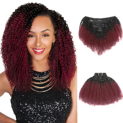 Cheap Ombre Afro Kinky Curly Clip In Human Hair Extensions #1B/#99J 120g