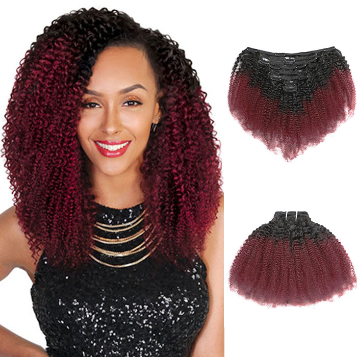 Cheap Ombre Afro Kinky Curly Clip In Human Hair Extensions #1B/#99J 120g 8