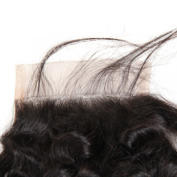 Cheap Peruvian Hair Curly Closures Three Part Middle Part Free Part 4