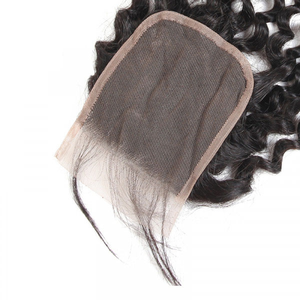 Cheap Peruvian Hair Curly Closures Three Part Middle Part Free Part 6