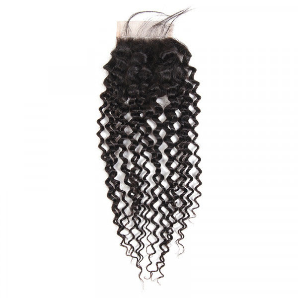 Cheap Peruvian Hair Curly Closures Three Part Middle Part Free Part 8