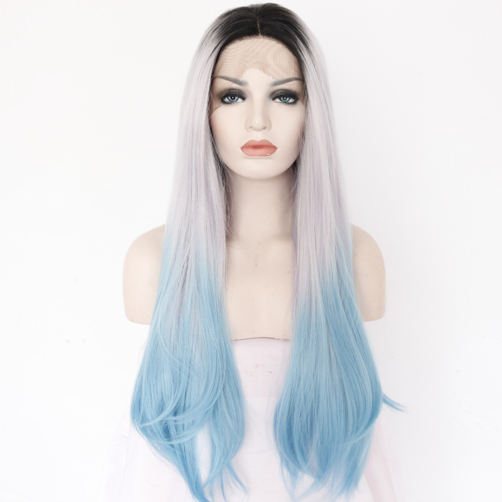 Chic Ombre Long Straight Glueless Synthetic Lace Front Wig