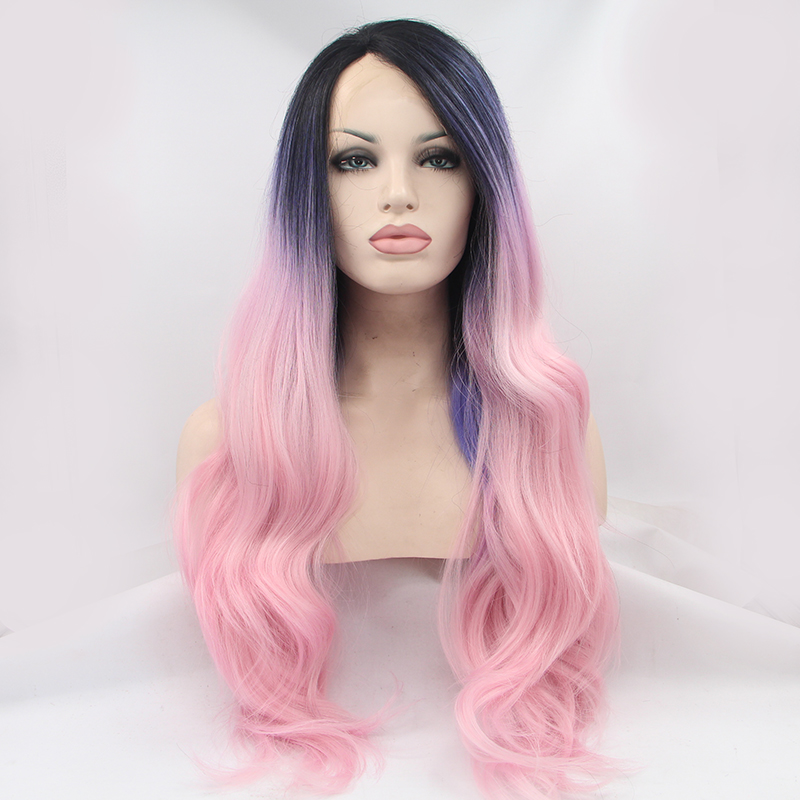 Chic Pink Ombre Dark Roots Wave Lace Front Wig