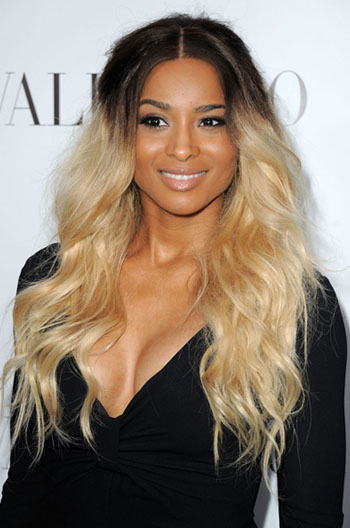 Ciara Casual Long Wavy Dark To Light Ombre Human Hair Lace Front Wigs