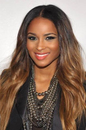 Ciara Ombre Brown Long Wavy Human Hair Celebrity Lace Wigs 20 Inch