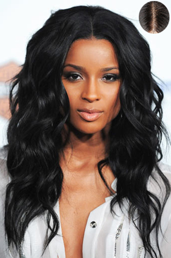 "20 Inch Ciara Wavy Indian Remy Hair #1 Lace Front Wigs With 4.5"" Super Deep Middle Part {Custom Wig Production Time 10-15 working days}"