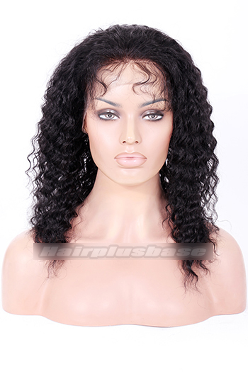 14 Inch #1 Deep Wave Indian Remy Hair Clearance Full Lace Wig