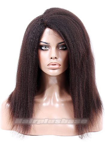 18 Inch Kinky Straight Side Part Clearance Glueless Silk Top Lace Front Wig