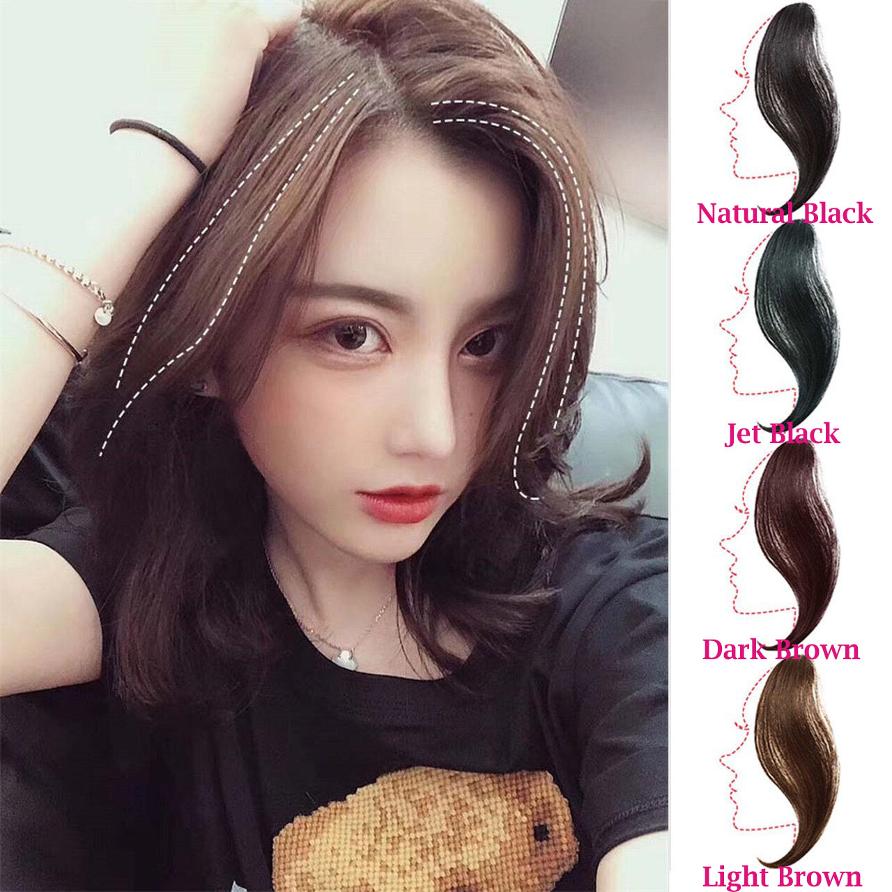 Clip In Air Fringe Long Hair Extension Side Fringe Middle Part Bang Hairpiece 1