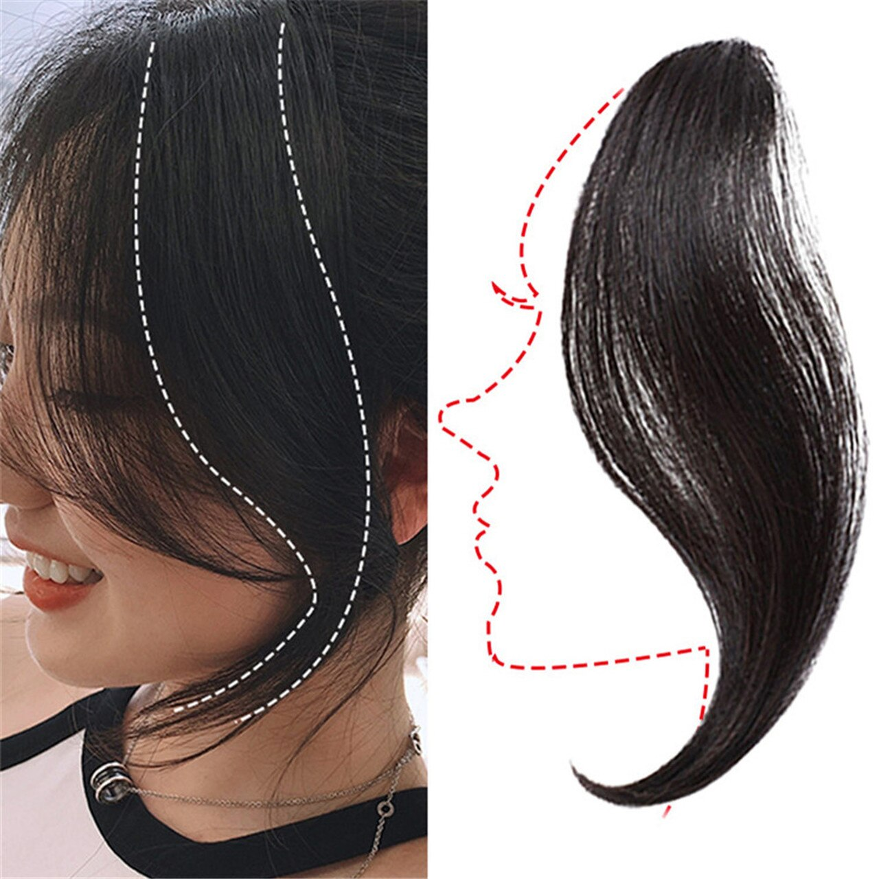 Clip In Air Fringe Long Hair Extension Side Fringe Middle Part Bang Hairpiece 3