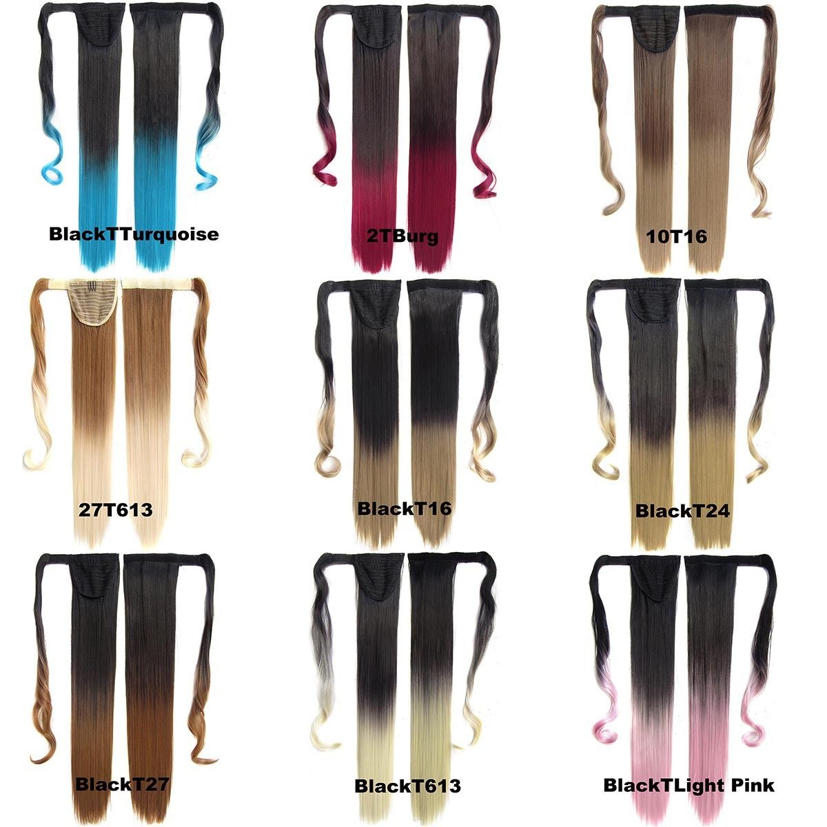 Clip In Dip Dye Ombre Ponytail Hair Extensions Wrap On Hair Piece Straight